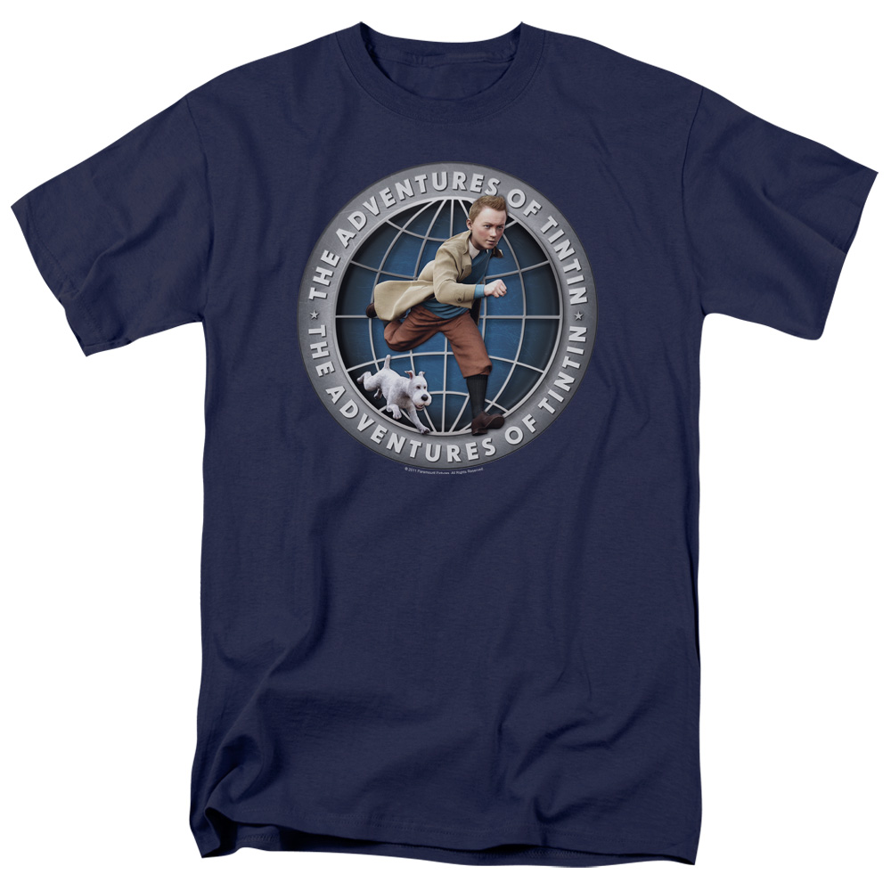 The Adventures of Tintin Globe Mens Short Sleeve Shirt