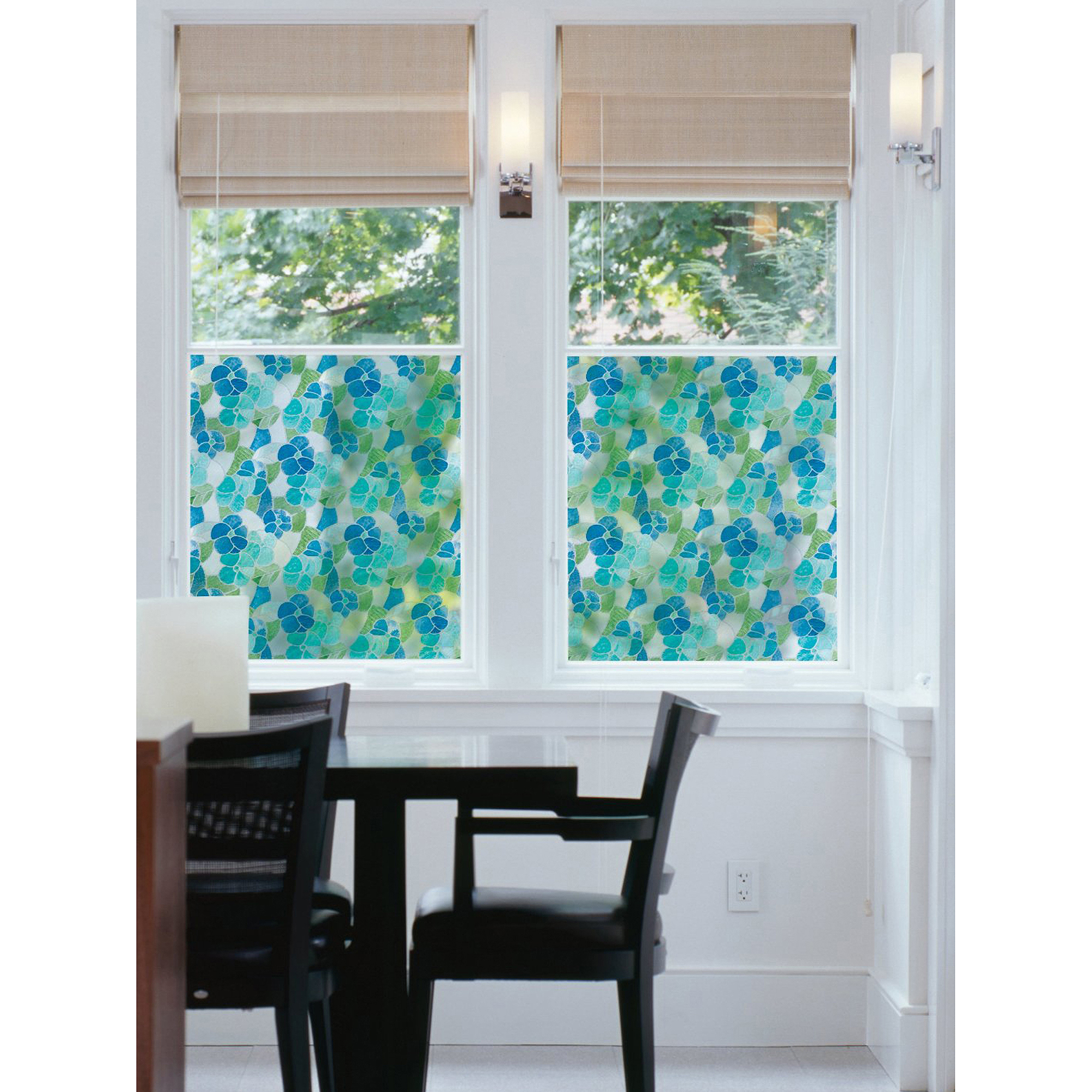 Brewster Blue and Green Stained Glass Peel and Stick Window Film