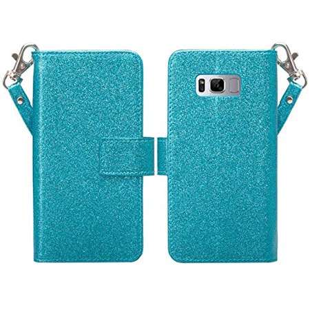 Samsung Galaxy S8 Plus Case, Glitter Leather Flip Credit Card Holder Wrist Strap Shockproof Protective Wallet Case Clutch for Samsung Galaxy S8 Plus - Rose Gold - image 1 of 3