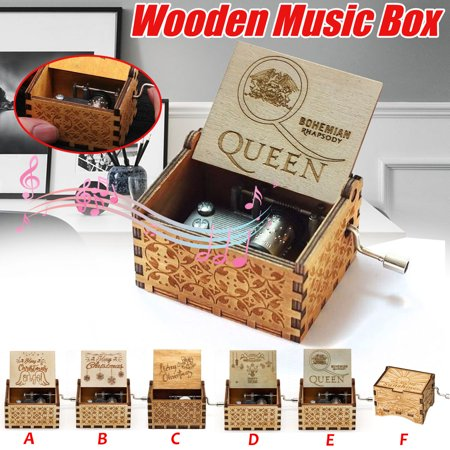 Vintage Music Box Wood Hand Cranked Music Box Merry Christmas Music Box Desktop Home Crafts Decor Christmas Gift ()