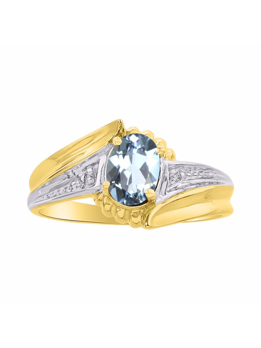 Details about  /Diamond /& Aquamarine Sterling Silver or Gold Plated Silver Ring March Stone