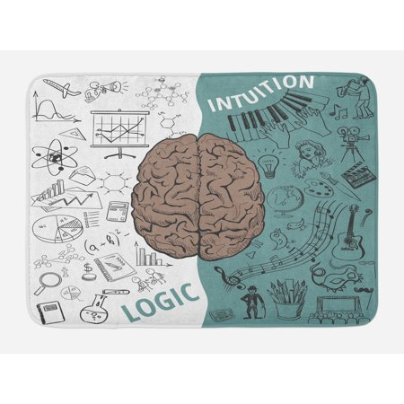 Modern Bath Mat, Brain Image with Left and Right Side Music Logic Artwork Side Science Print, Non-Slip Plush Mat Bathroom Kitchen Laundry Room Decor, 29.5 X 17.5 Inches, White Teal Umber, Ambesonne ()