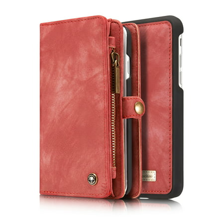 Leather Zipper Case - iPhone 8 Wallet Case, iPhone 7 Case, Dteck Multi-function 2 in 1 PU Leather Zipper 11 Card Slots Card Slots Money Pocket Clutch Wallet Case Detachable Magnetic Cover, Red
