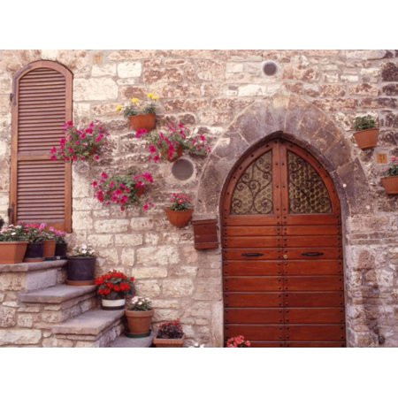 Exterior of House with Flowers, Italy Print Wall Art By Robin Allen
