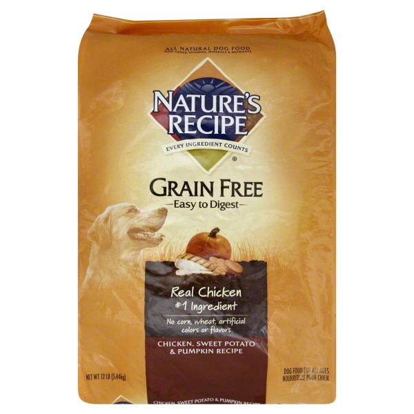 Nature's Recipe Grain Free Easy to Digest Chicken, Sweet Potato and Pumpkin Recipe Dry Dog Food, 12 lbs