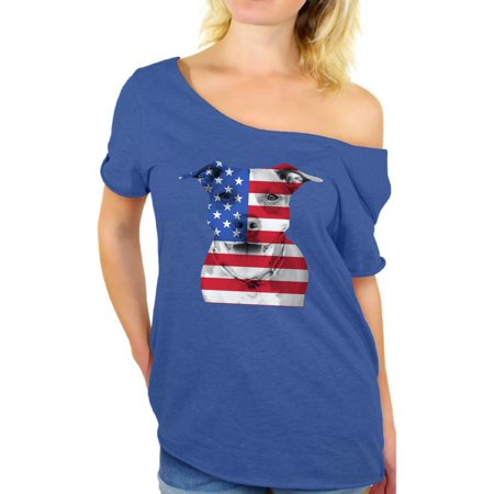 Awkward Styles American Flag Off Shoulder T Shirt USA Flag Pitbull Tshirt Tops Patriotic Clothing 4th of July Gifts for Dog Owners Independence Day Outfit Pitbull Tee Shirt Tops for Women USA Shirt - Fourth Of July Outfits Women