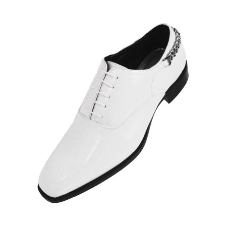 Bolano Mens Smooth Shiny Patent Plain Toe Oxford Dress Shoe With