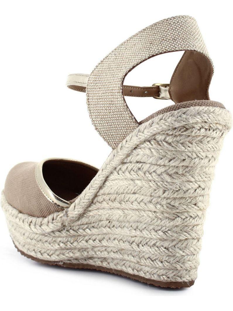 57e8dad4e7b5 Ceresnia - Ceresnia Adult Beige Ankle Strap Closure Wedge Trendy Sandals -  Walmart.com