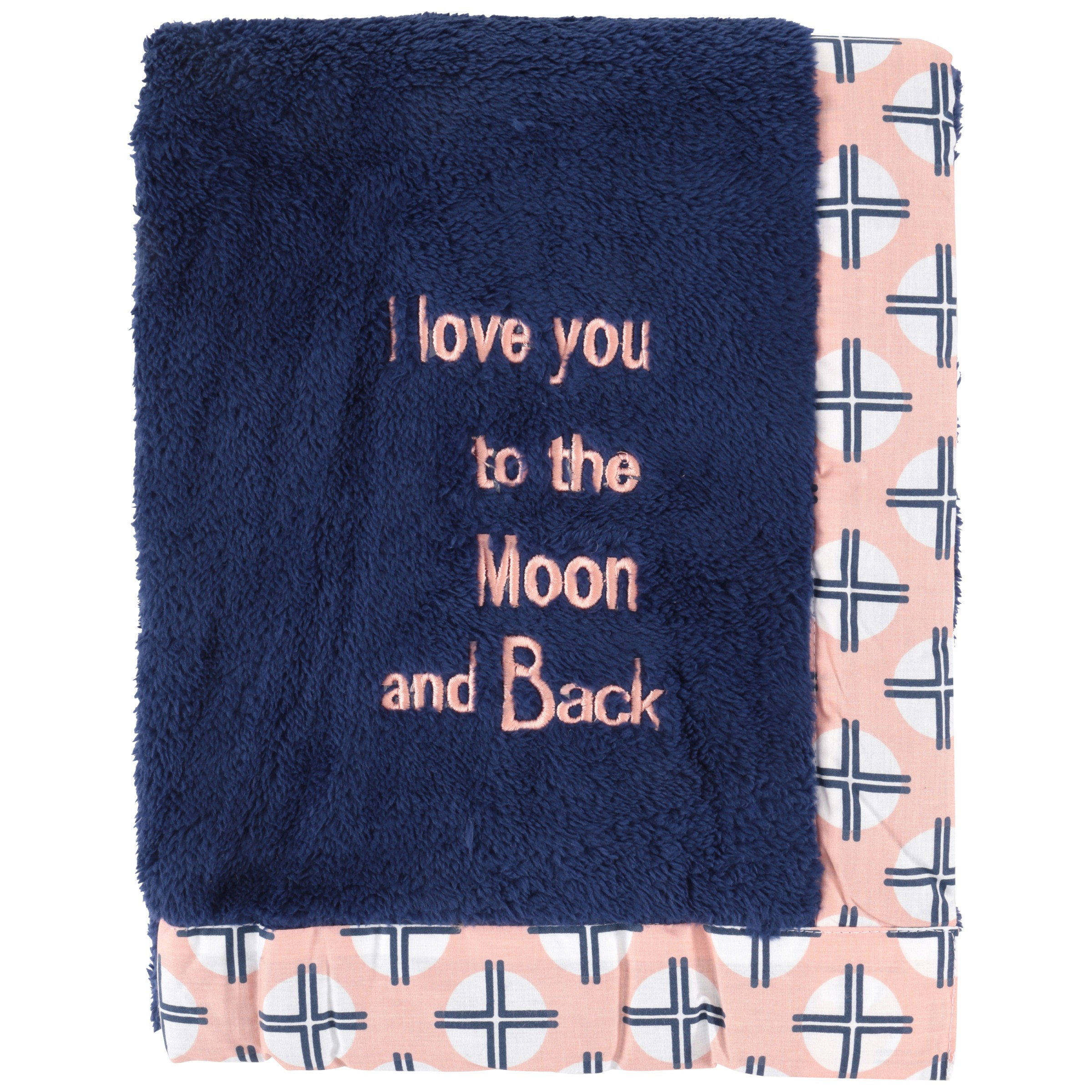 Bacati Olivia Tribal Coral Navy Plush (I Love You To The Moon & Back) Baby Blanket by Bacati