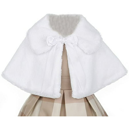 Little Baby Girls Faux Fur Satin Tie Flower Girl Bolero Jacket Cover Cape White XL (SC1K2) - Faux Fur Coat Girls