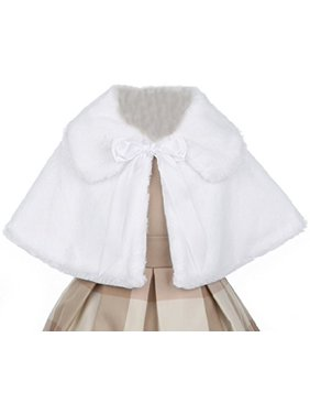 5a0dd55f1fc4f Product Image Little Baby Girls Faux Fur Satin Tie Flower Girl Bolero Jacket  Cover Cape White XL (