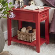 Chelsea Lane Nightstand End Table with Drawer Power Outlet, Multiple Colors