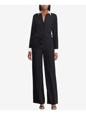 RALPH LAUREN Womens Black Drawstring Long Sleeve Collared Straight leg Wear To Work Jumpsuit  Size: 4