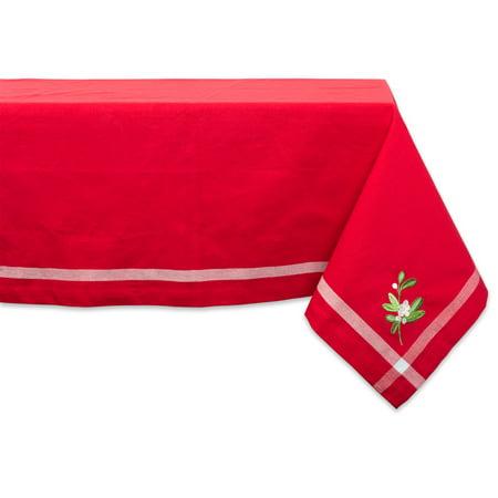 "Design Imports Formal Rectangle Embroidered Mistletoe Corner Kitchen Tablecloth, 104"" x 60"", 100% Cotton, Multiple Sizes"