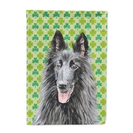 Belgian Sheepdog St. Patrick's Day Shamrock Portrait Flag
