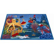 Joy Carpets 1587C Fish Tales 5 ft.4 in. x 7 ft.8 in. 100 Pct. STAINMASTER Nylon Machine Tufted- Cut Pile Educational Rug
