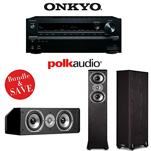 Onkyo TX-NR646 7.2-Channel Network A V Home Theater Receiver + (1) Pair of Polk Audio TSi 300 Floorstanding Loudspeakers by Onkyo