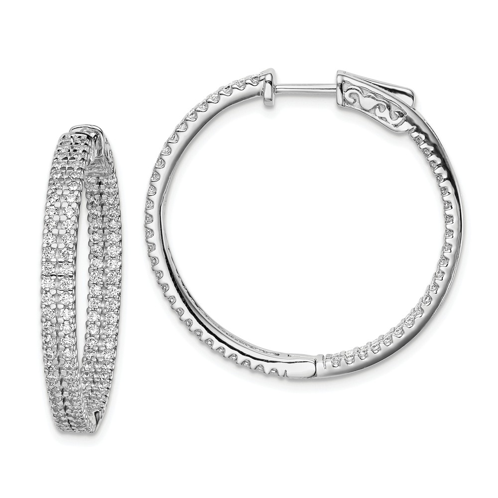 Sterling Silver 1.2 inch diameter CZ Hoop Earrings