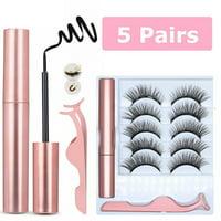 10Pcs/5Pairs Set Magnetic False Eyelashes Lashes with Magnetic Liquid Eyeliner Kit - Diamond