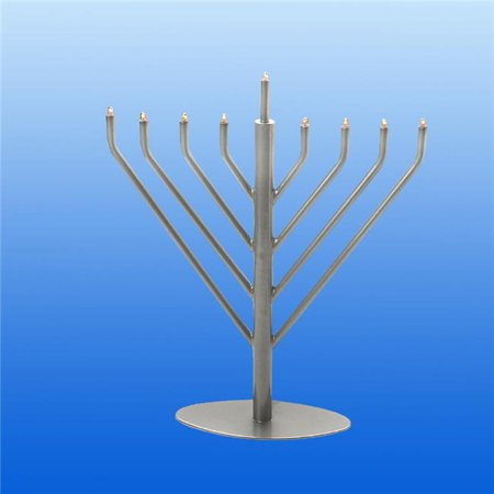 Pewter Giftware - Israel Giftware EM-19P Electric Pewter Menorah with Clear & Bulbs, Blue