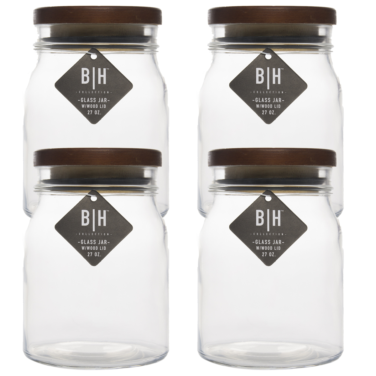 Blue Harbor (4 Pack) 27oz Clear Glass Storage Jars With Wood Lids Decorative Kitchen or Craft Jar Set by Blue Harbor