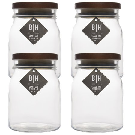 Blue Harbor (4 Pack) 27oz Clear Glass Storage Jars With Wood Lids Decorative Kitchen or Craft Jar Set - Baby Food Jars Halloween Craft