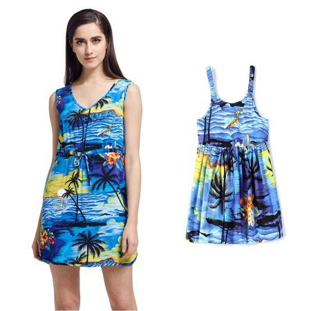 Matching Mother Daughter Hawaiian Luau Outfit Lady Tunic Slip on Dress Girl Dress Blue Sunset