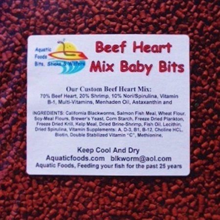Aquatic Foods Beef Heart Mix Sinking Baby Bits for Discus, Cichlids, Bottom Fish, All Tropical Fish - 1/8-lb Caribsea African Cichlid Mix