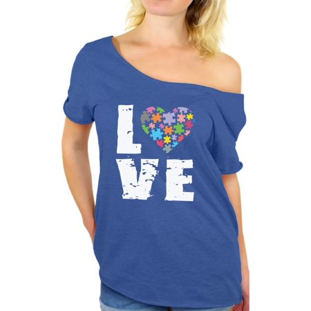 Awkward Styles Women's Love Puzzles Autism Awareness Graphic Off Shoulder Tops T-shirt Autistic Support