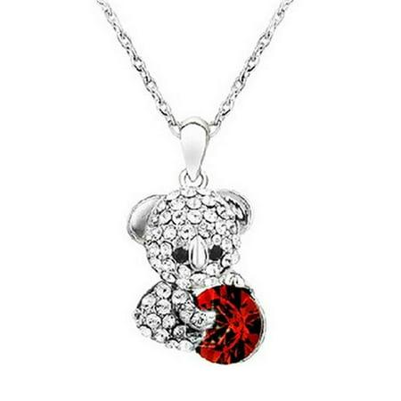 Wrapables® Cute Teddy Bear Swarovski Elements Crystal Pendant Necklace, Red Clear Swarovski Crystal Pendant