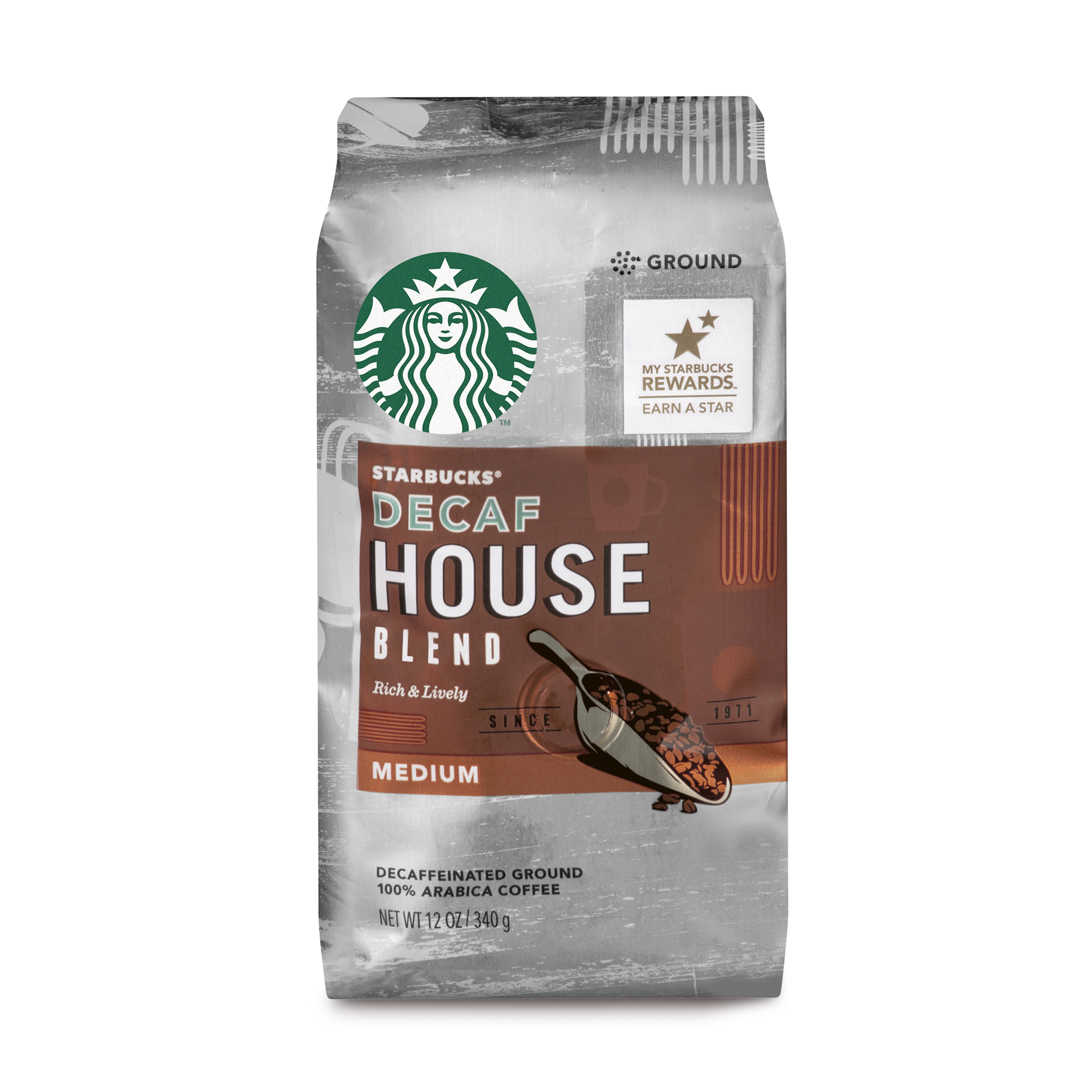 Starbucks Decaf House Blend Medium Roast Ground Coffee, 12-Ounce Bag