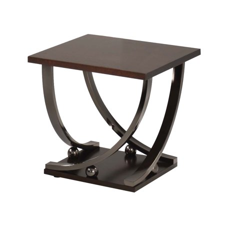 ACME Isiah End Table, Black Nickel Hammered Nickel Table