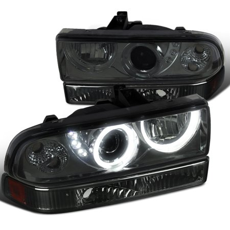 (Spec-D Tuning 1998-2004 Chevy Chevrolet S10 Blazer Smoke Led Halo Projector Headlights + Amber Bumper Lamp (Left + Right) 98 99 00 01 02 03 04)