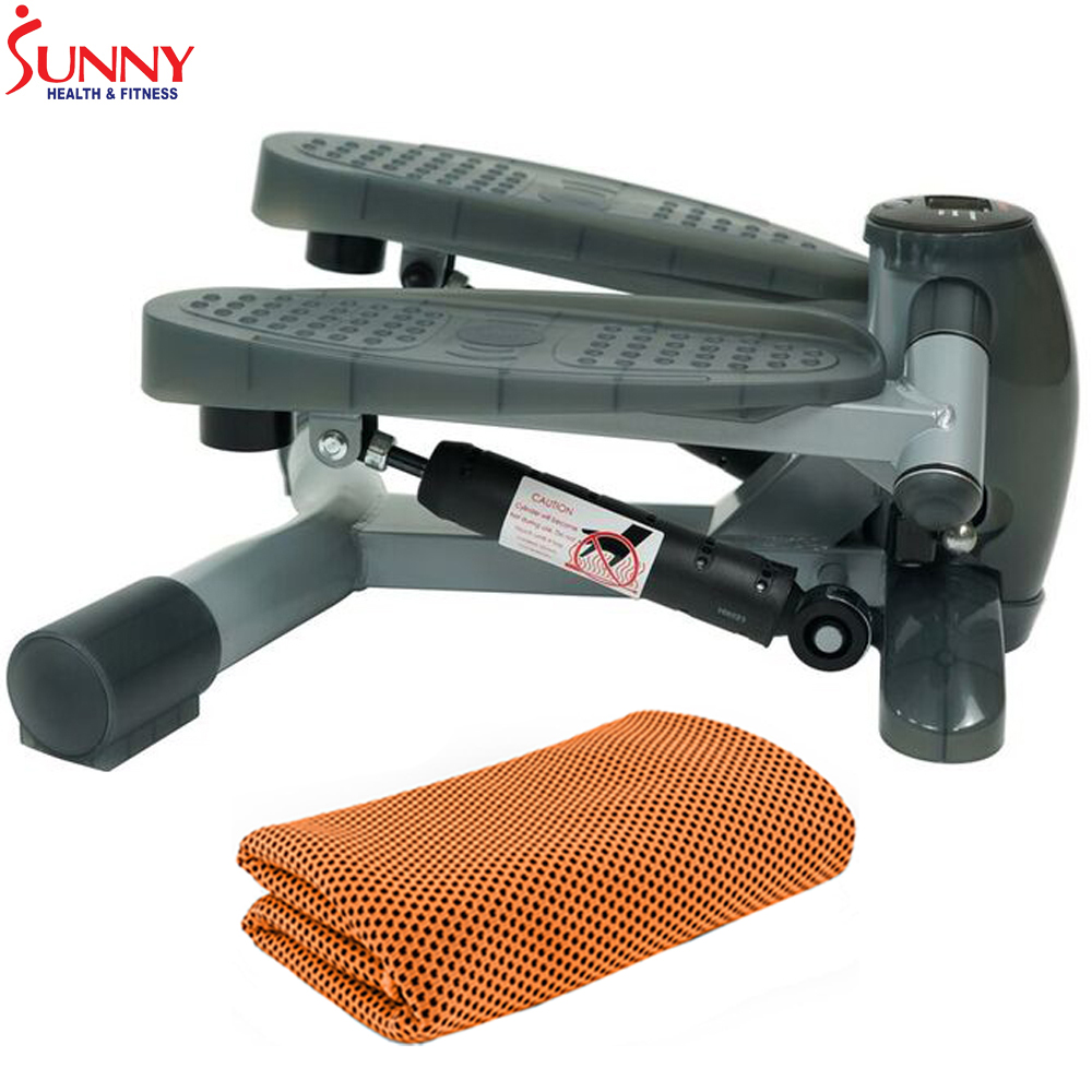 Sunny Health and Fitness Twist-In Step Machine w/ LCD Monitor (SF-S0636) with Workout Cooling Towel
