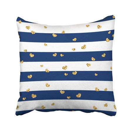 BPBOP Black Dot Golden Hearts Stripes Gold Glitter And Blue Abstract Retro Valentine Day Design Pillowcase Pillow Cover 18x18 inches