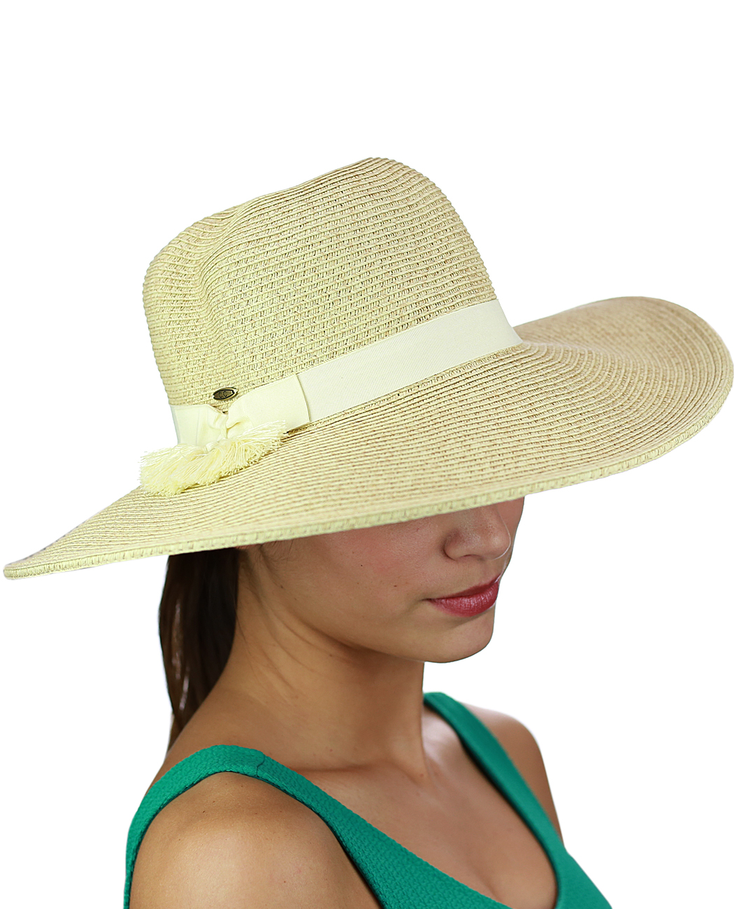 C.C Women's Solid Color Band with Tassel Summer Beach Floppy Brim Sun Hat, Sand
