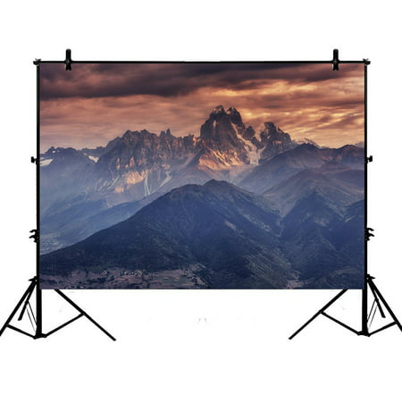 PHFZK 7x5ft Landscape Nature Scenery Backdrops, Fog Mountain Photography Backdrops Polyester Photo Background Studio Props