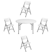 National Public Seating NPS Heavy Duty 48-inch Round Folding Table and Set of 4 Chairs