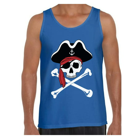 Awkward Styles Jolly Roger Skull Tank Top for Men Pirate Skull Flag Tank Dia de los Muertos Tank Top for Men Day of the Dead Muscle Shirt Pirate Skull Tank - Simple Pirate Outfit