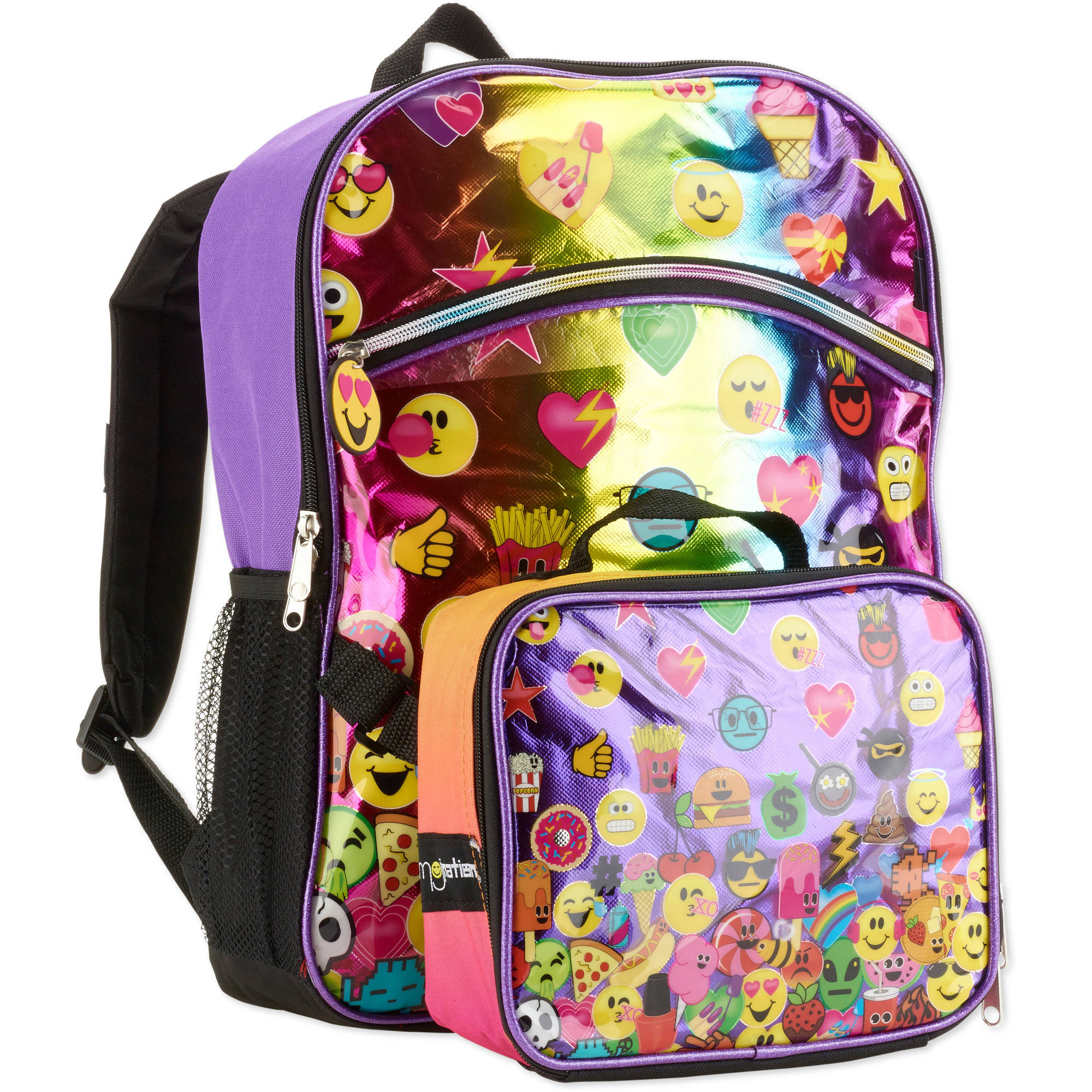 emoji nation rainbow emoji set backpack with lunch tote walmart