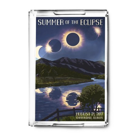 Carbondale Illinois Halloween (Carbondale, Illinois - Solar Eclipse 2017 - Summer of the Eclipse - Lantern Press Artwork (Acrylic Serving)