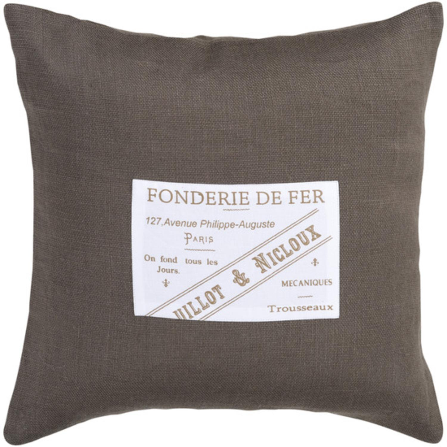 """22"""" French-Style """"Fonderie De Fer"""" Gray and White Decorative Throw Pillow"""