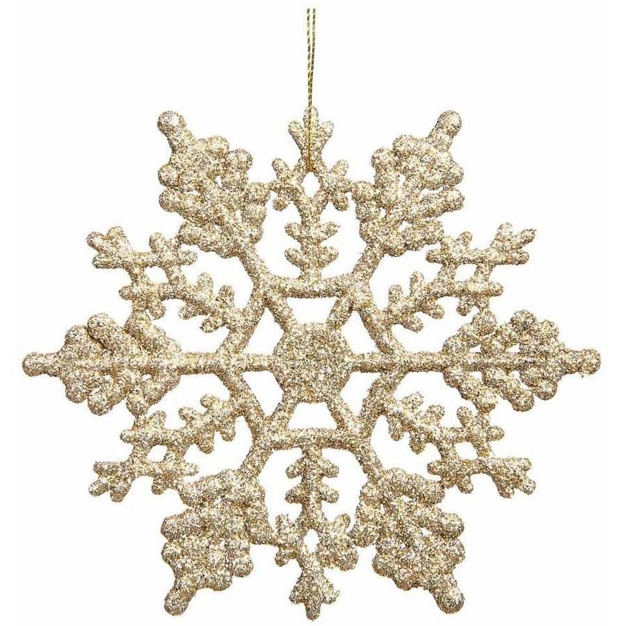"Vickerman 6.25"" Glitter Snowflake Christmas Ornaments, Pack of 12"