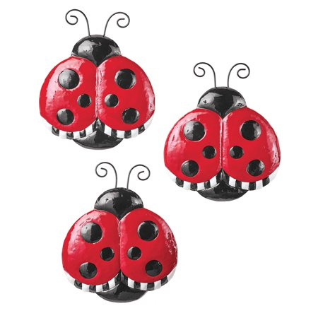 attractive and bright red nursery ideas | Cute Bright Red Ladybug Metal Wall Decor - Set of 3 ...