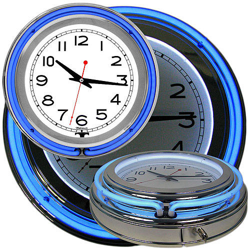 "14"" Double Ring Neon Clock, Blue Outer & White Inner Ring"
