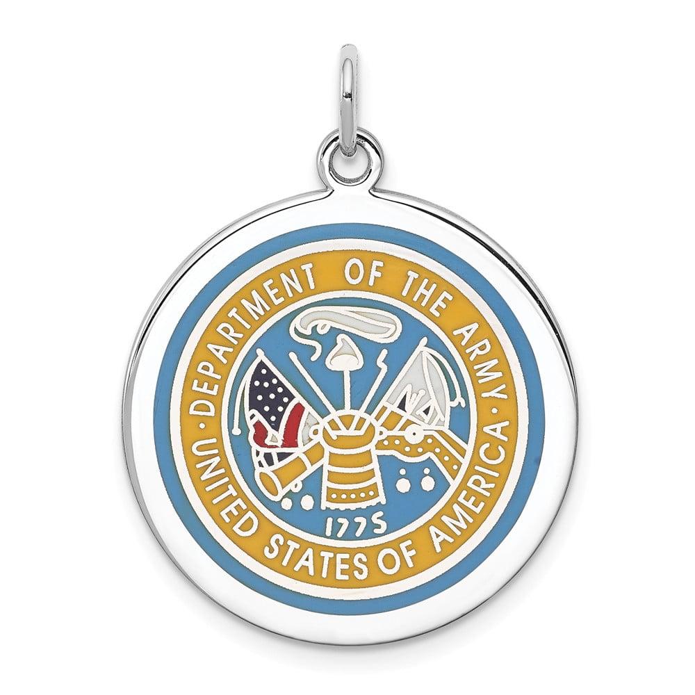 Lex /& Lu Sterling Silver US Army Logo Disc