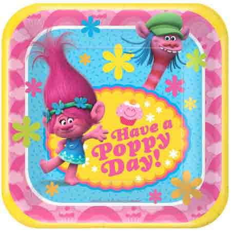 """Trolls 7"""" Square Cake Plate (8 Count)"""