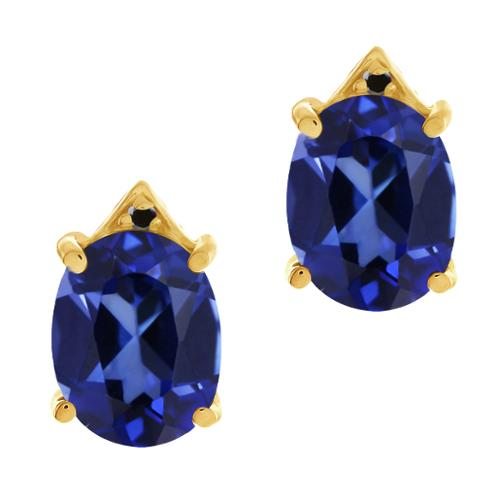 6.74 Ct Blue Created Sapphire Black Diamond Yellow Gold Plated Silver Earrings