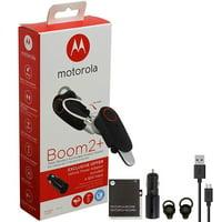 "Motorola Boom 2+ ""HD"" Flip Bluetooth - Water Resistant Durable Wireless Samll Headset W/Car Charger RIM Y Wire + Hook and Gel Kit (US Retail Packing)"