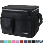 OPUX Lunch Bag Insulated Lunch Box for Women, Men, Kids   Medium Leakproof Lunch Tote Bag for School, Work   Lunch Cooler with Shoulder Strap, Pocket   Fits 8 Cans (Black)
